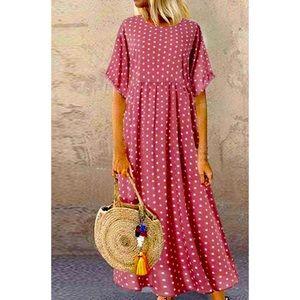 Summer Loose Fitted Polka Dot Beach Dress Sz S